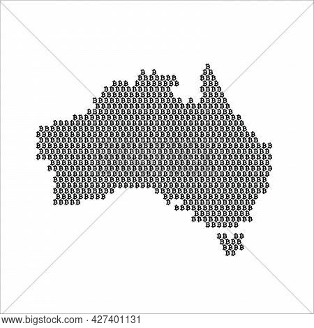 Australia Country Map Made With Bitcoin Crypto Currency Logo