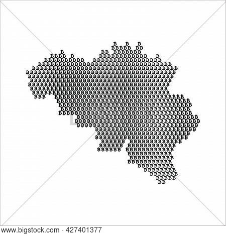 Belgium Country Map Made With Bitcoin Crypto Currency Logo