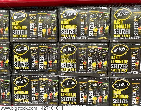 Cases Of Mikes Hard Lemonade Seltzer In The Wine And Beer Aisle At A Sams Club Store In Orlando, Flo