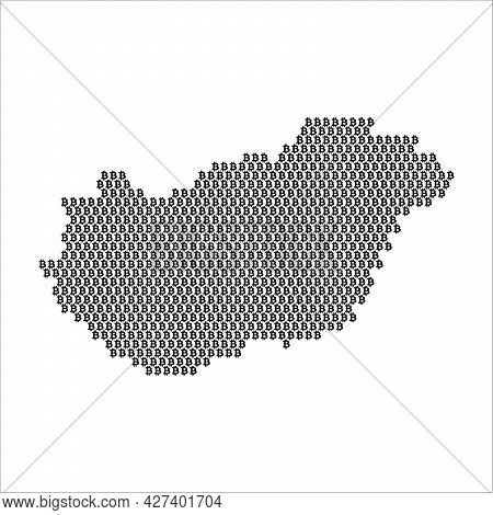 Hungary Country Map Made With Bitcoin Crypto Currency Logo