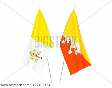 National Fabric Flags Of Vatican And Kingdom Of Bhutan Isolated On White Background. 3d Rendering Il