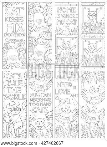 Cat Coloring. Coloring Bookmarks. Funny Animal. Vector Illustration.