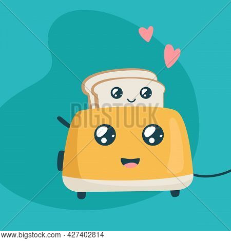 Cute Toaster And Toasts. Kawaii Breakfast. Funny Characters Of Bread And Toaster On Colorful Backgro
