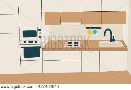 Interior Of Modern Minimalistic Kitchen.
