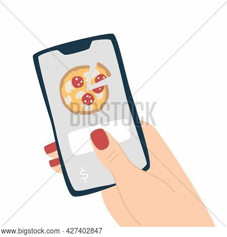 Choosing Food On A Smartphone Application. Pizza Delivery Order.  Isolated Vector Illustration In Fl