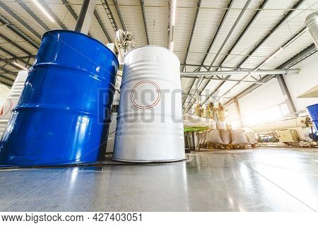 The Interior Of A Factory For The Production Of Polypropylene Products From Recycled Materials. Mixi