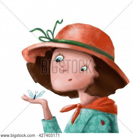 Cute Girl With Butterfly And Ladybird Hand Drawn Summer Portrait, Funny Illustration With Cartoon Ch