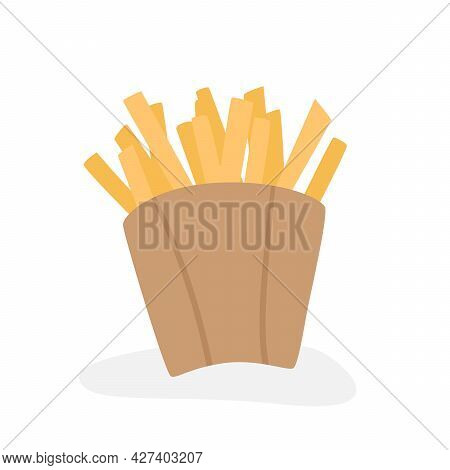 French Fries In A Craft Paper Box Isolated On A White Background. Foreground. French Fries In A Pape