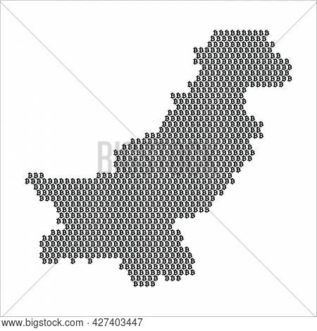 Pakistan Country Map Made With Bitcoin Crypto Currency Logo