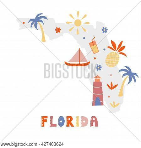 Usa Map Collection. State Symbols And Nature On Gray State Silhouette - Florida. Cartoon Simple Styl