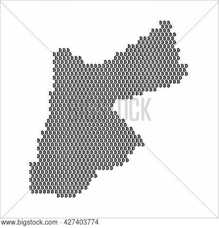 Jordan Country Map Made With Bitcoin Crypto Currency Logo