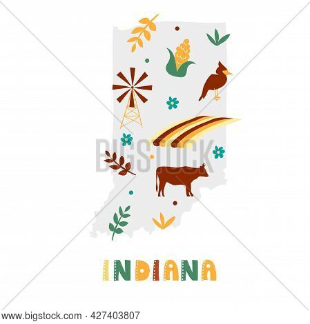 Usa Map Collection. State Symbols And Nature On Gray State Silhouette - Indiana. Cartoon Simple Styl
