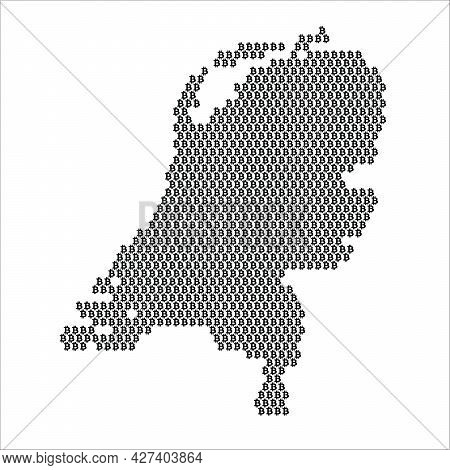 Netherlands Country Map Made With Bitcoin Crypto Currency Logo