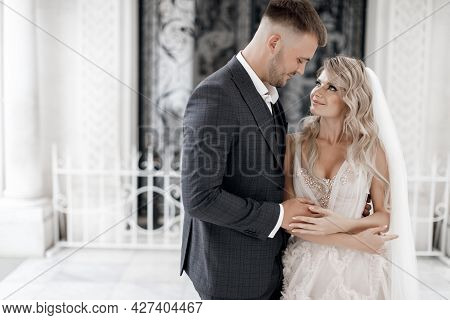 Stylish Young Wedding Couple. Amazing Portrait Of A Wedding Couple Which Is Walking Near The Old Ren