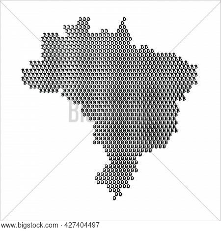 Brazil Country Map Made With Bitcoin Crypto Currency Logo