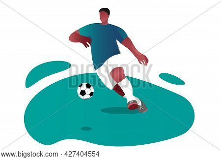 An African-american Man Plays Football. Football Competitions On The Field. A Young Man With A Ball