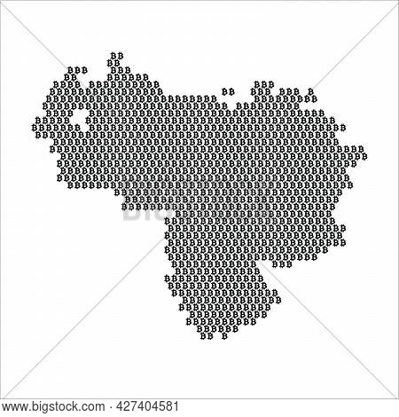 Venezuela Country Map Made With Bitcoin Crypto Currency Logo