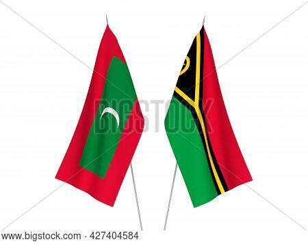 National Fabric Flags Of Maldives And Republic Of Vanuatu Isolated On White Background. 3d Rendering