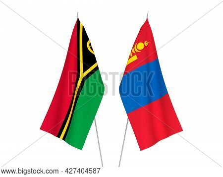 National Fabric Flags Of Mongolia And Republic Of Vanuatu Isolated On White Background. 3d Rendering
