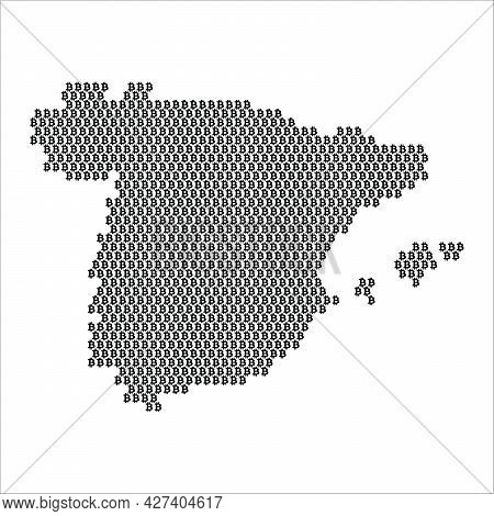 Spain Country Map Made With Bitcoin Crypto Currency Logo