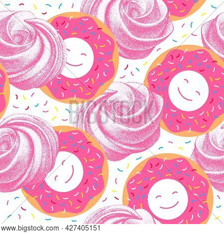 Sweet Cakes Seamless Pattern. Glazed Doughnuts And Meringues. Donuts And Pink Airy French Marshmallo