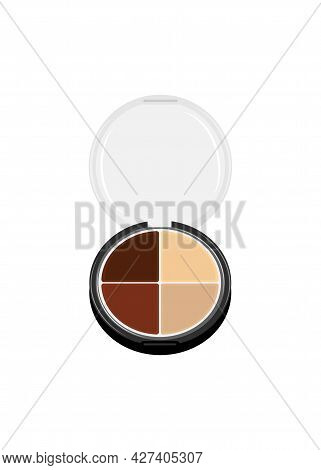 Vector Palette With Eye Shadows Open. Round Eyeshadow Palette With Four Colors. Professional Eye Cos