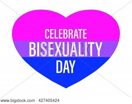 Celebrate Bisexuality Day. Hearts With Bisexual Pride Flag Isolated On White Background. Festival Of