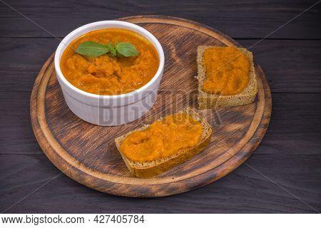 Squash Spread, Zucchini Caviar And Ingredients. Healthy Food.