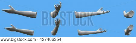 8 White Concrete Statue Hand Detailed Renders Isolated On Blue, Lights And Shadows Distribution Exam