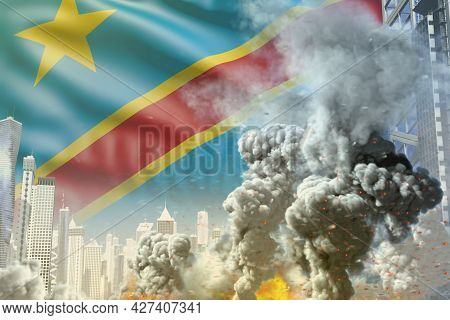 Big Smoke Pillar With Fire In Abstract City - Concept Of Industrial Accident Or Act Of Terror On Dem
