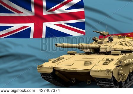 Fiji Modern Tank With Not Real Design On The Flag Background - Tank Army Forces Concept, Military 3d