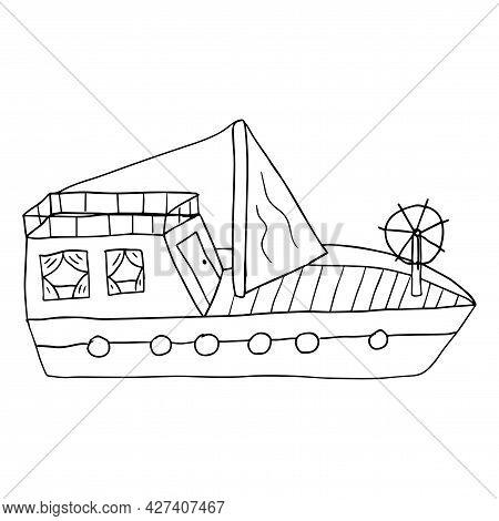 Cute Cartoon Doodle Sailing Yacht Isolated On White Background. Childlike Style Ship.