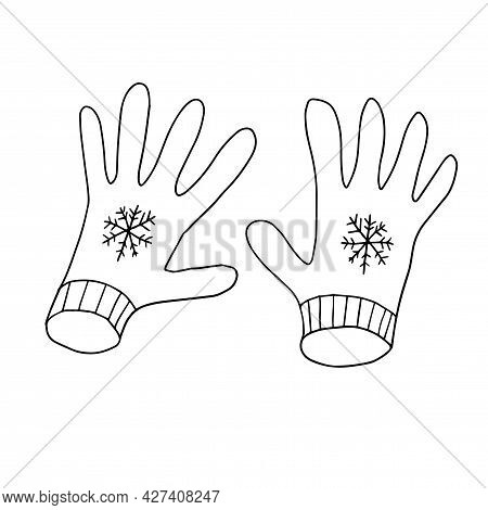 Doodle Gloves Isolated On White Background. Winter Hand Drawn Cloth With Snowflakes.