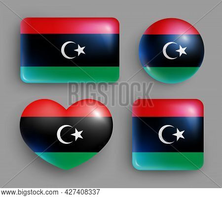 Set Of Glossy Buttons With Libya Country Flag. Northern Africa Republic National Flag, Shiny Geometr