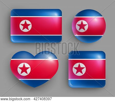 Set Of Glossy Button With North Korea Country Flag. East Asia Country National Flag, Shiny Geometric