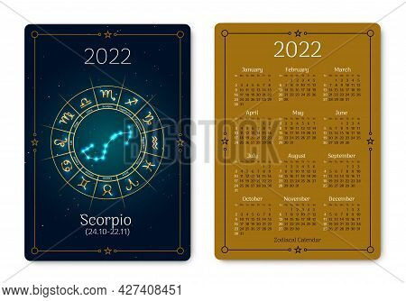 Scorpio Pocket Size Calendar Layout With Zodiac Sign. 2022 Year Double Sided Vertical Calendar With