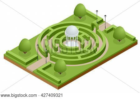 Isometric Maze Of Bushes In Botanical Park. Green Hedge Maze Or Labyrinth.