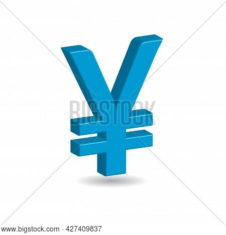 3d Vector Illustration Of Blue Yen Yuan Sign Isolated In White Color Background. Japanesse And Chine