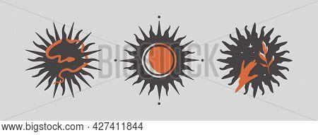 Three Black Abstract Stars With Orange Elements. Modern Minimal Style. Set Of Esoteric Mystical Cele