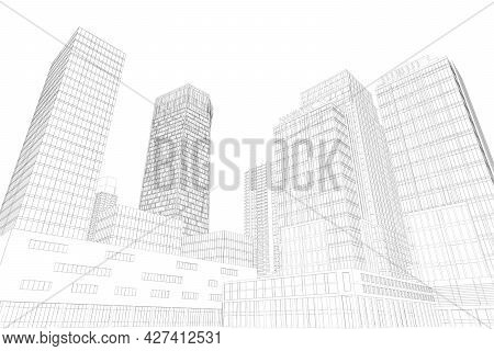 City Outline With Skyscrapers Isolated On White Background. 3d. Vector Illustration