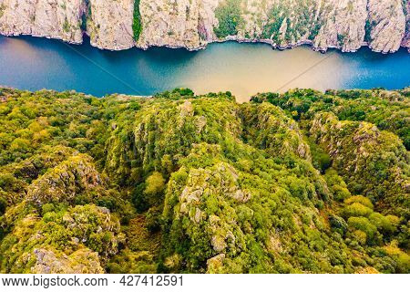 Aerial View Of River Sil Canyon In Parada De Sil In Galicia, Spain