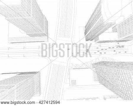 City Outline With Skyscrapers Isolated On White Background. View From Above. Road With Driving Cars.