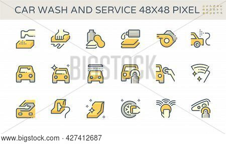 Car Care Service Vector Icon. Consist Of Cleaning, Washing And Detailing By Using Hand, Cleaner, Wax