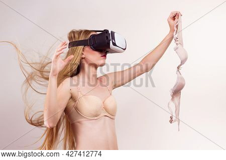 Woman Wearing Underwear And Virtual Reality Goggles Headset, Vr Box. Perfect Bra Fitting, Bosom Conc