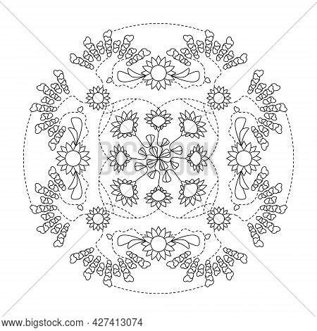 Mandala. Hearts And Flowers. Anti-stress Coloring Page. Vector Illustration Black And White.