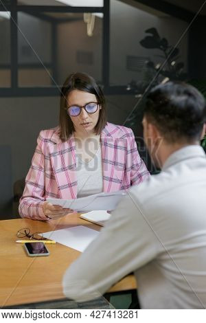 Interview Or Negotiation, Successful And Beautiful Business Woman In Her Office Interview