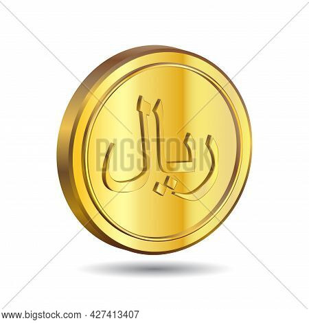 3d Vector Illustration Of Gold Saudi Riyal Coin Isolated On White Color Background. Sar Is The Offic