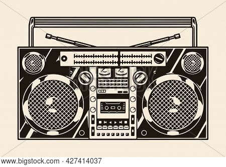 Portable Cassette Stereo Recorder Template In Vintage Monochrome Style Isolated Vector Illustration