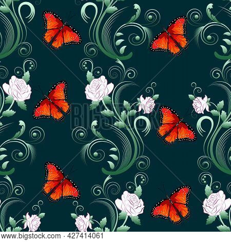 Butterflies On An Abstract Background. Abstract Flowers And Butterflies On A Colored Background In A