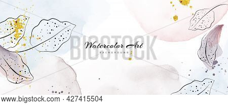 Abstract Art Watercolor With Botanical Decorative Gold Drops For Nature Banner Background. Watercolo